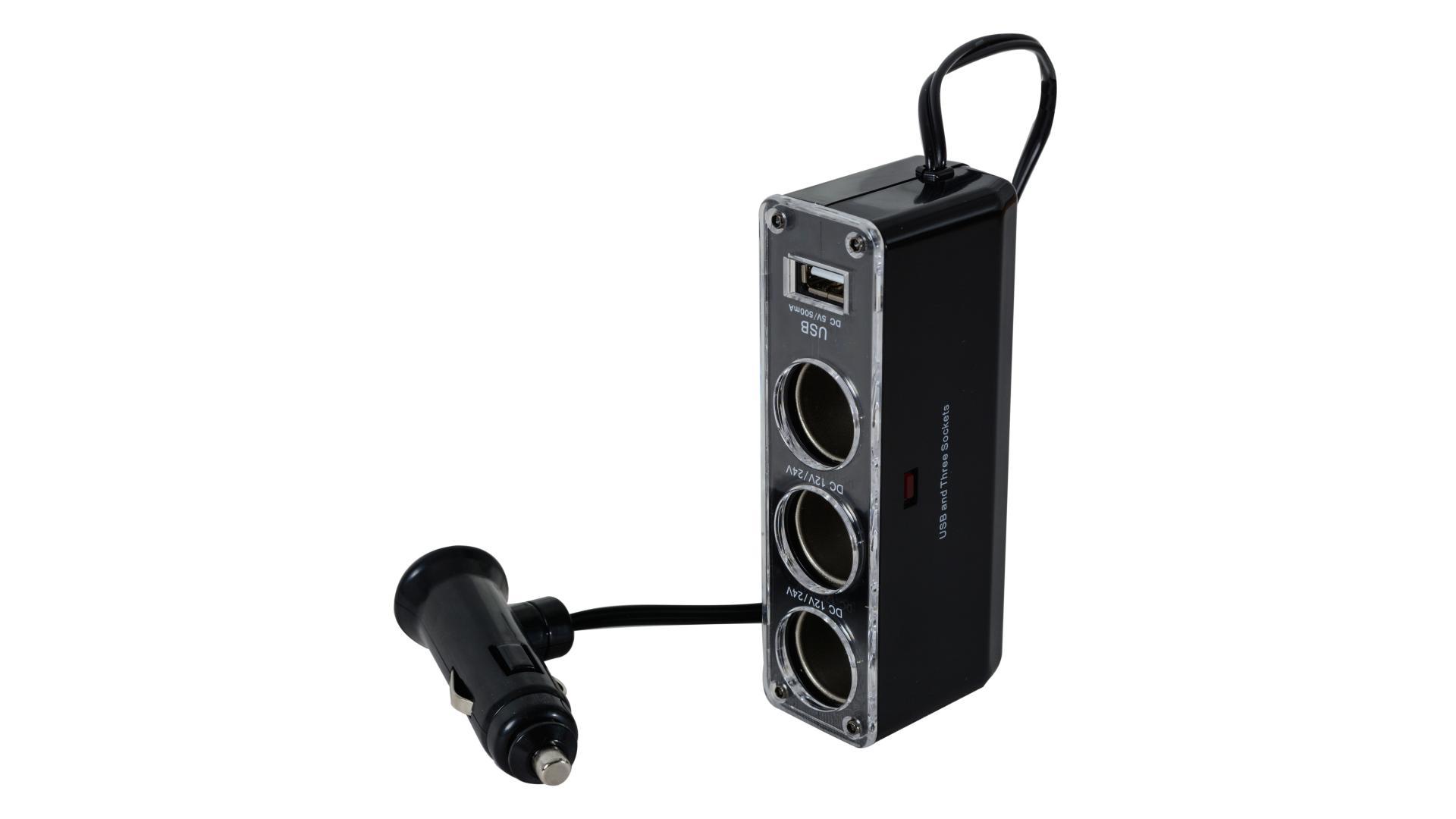 4CARS Roztrojka zapalovače 12/24V s USB č. 1