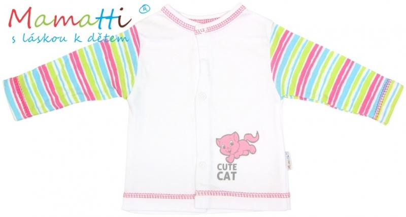 Bavlněná košilka Mamatti - CAT- bílá/barevné proužky