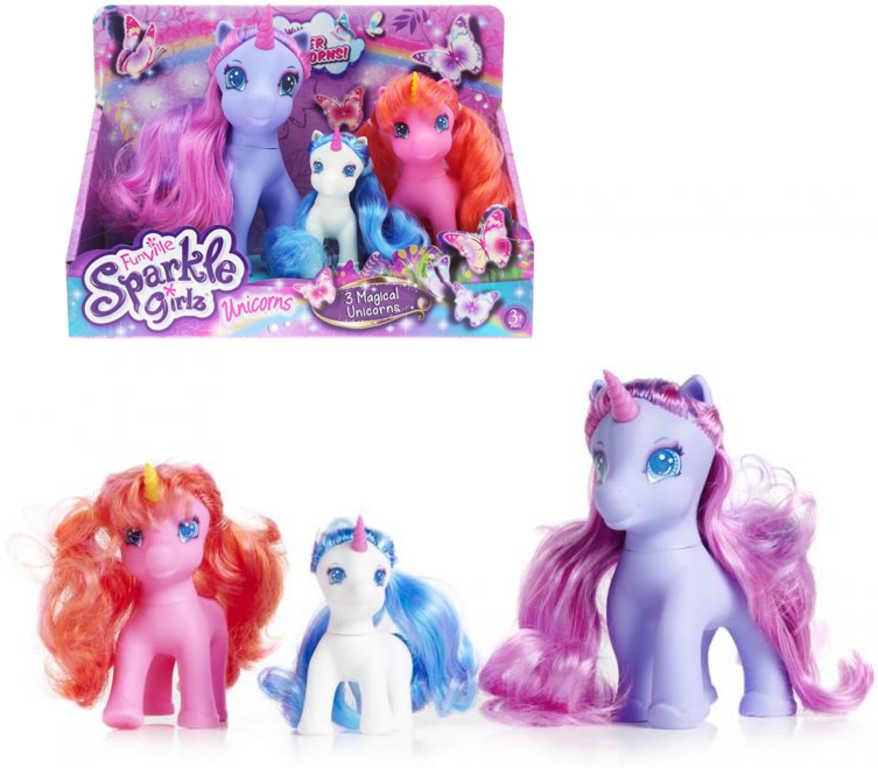 Sparkle Girlz Koník jednorožec set 3ks rodinka dlouhá hříva