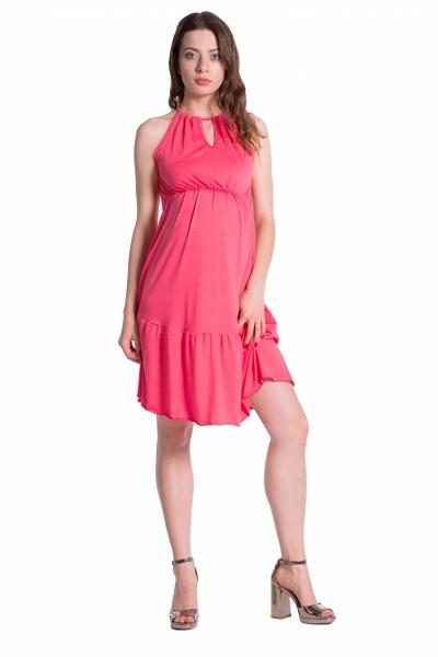 Letní těhotenské šaty na ramínkách - korálové - UNI