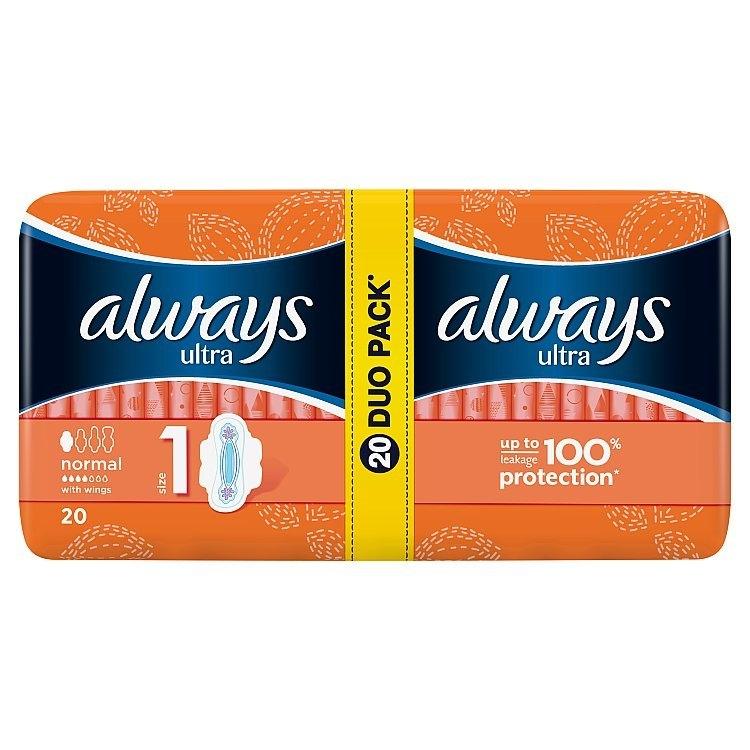 Ultra Normal plus hygienické vložky s křidélky a jemnou vůní 20ks/bal.