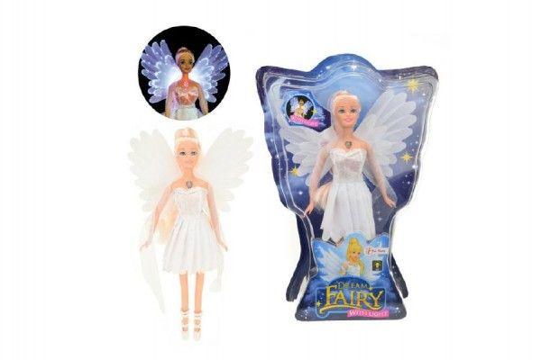 Panenka víla plast 30cm bílé šaty na baterie svítící v krabici 24x34x6cm