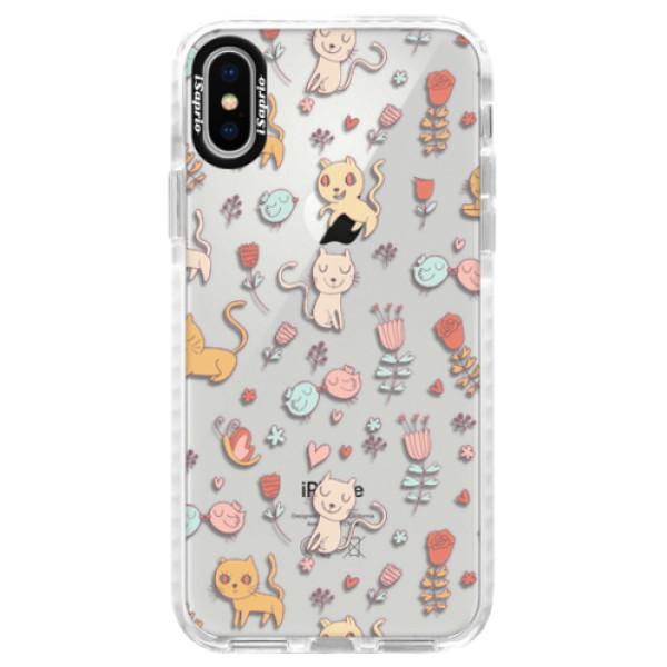 Silikonové pouzdro Bumper iSaprio - Cat pattern 02 - iPhone X