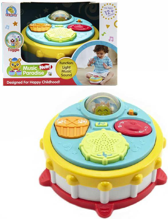 Baby bubínek barevný 16cm na baterie Světlo Zvuk pro miminko