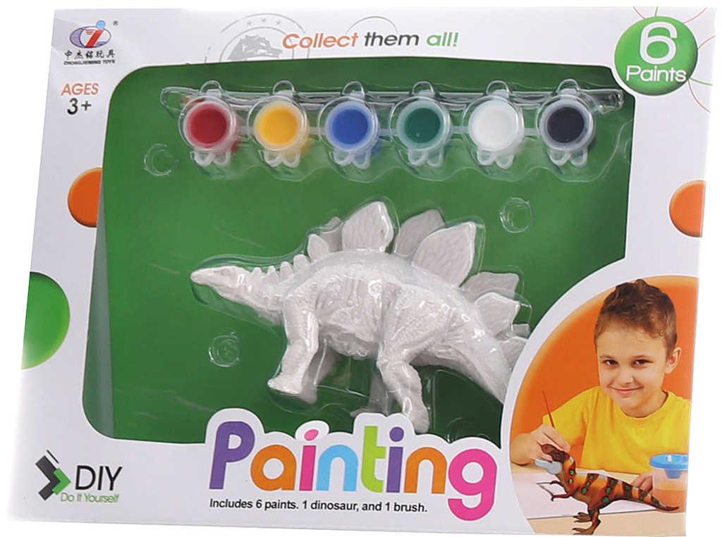 Dinosaurus k vymalování set figurka plastová s barvičkami a štětcem