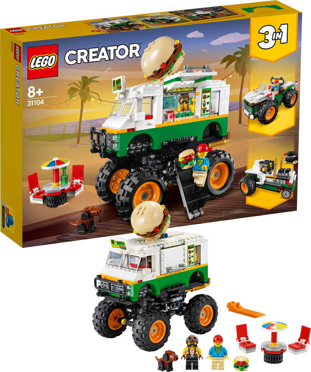 LEGO CREATOR Hamburgerový monster truck 3v1 31104 STAVEBNICE