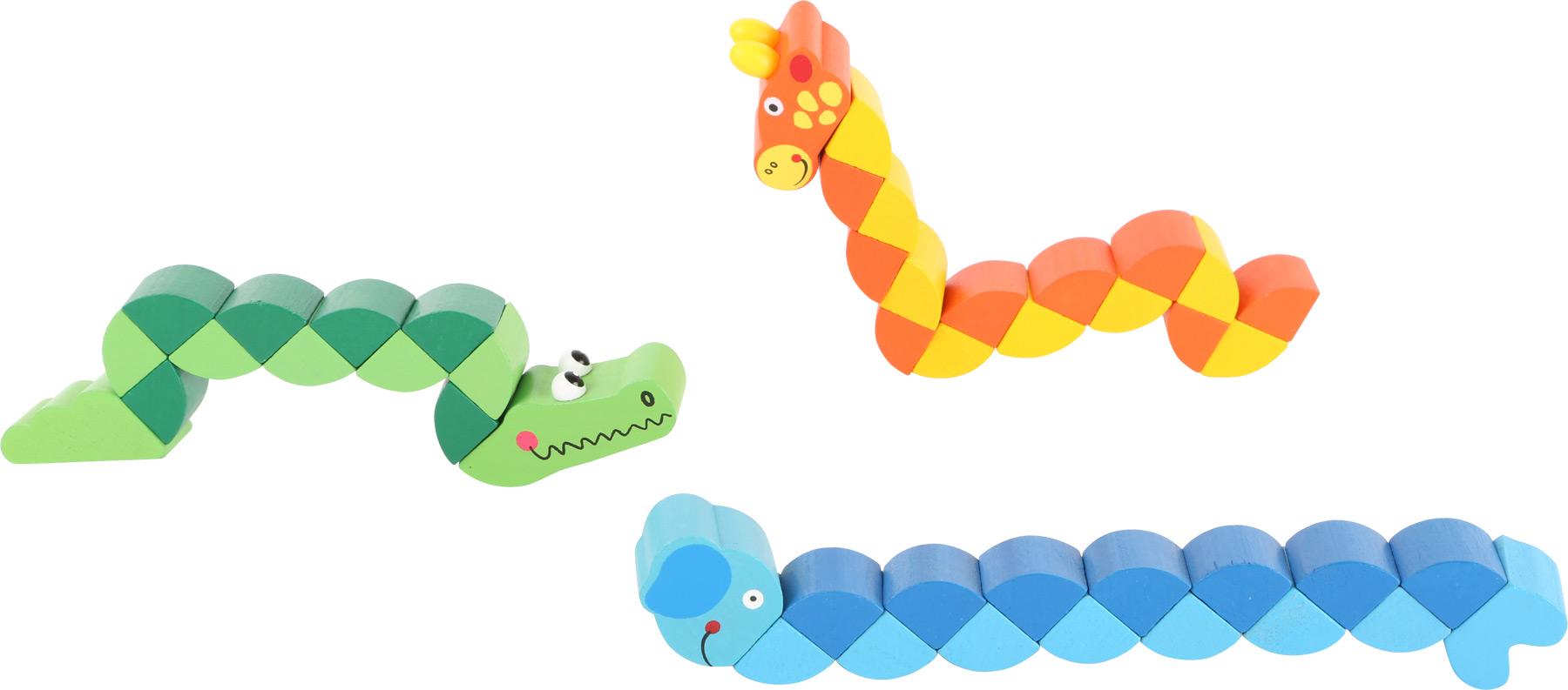 Small Foot Displej dřevěné barevné skládací zvířátka 18 ks