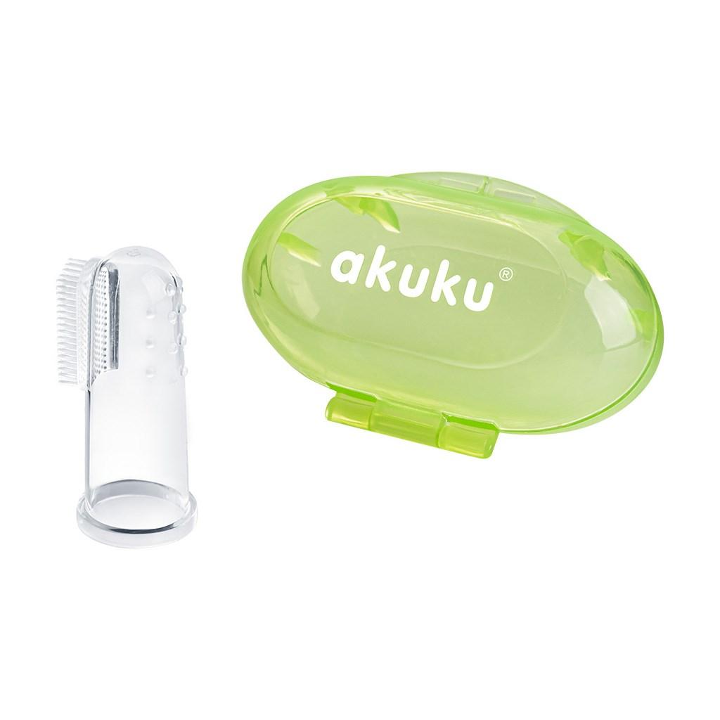 První zubní kartáček s pouzdrem Akuku - zelená