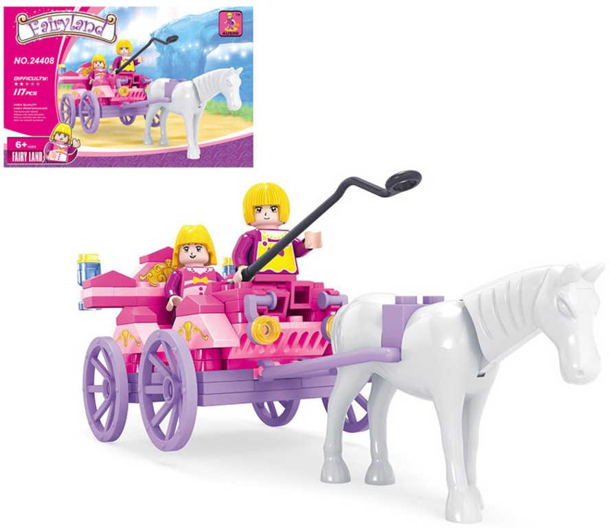 AUSINI Stavebnice POHÁDKOVÁ kočár s koněm sada 117 dílků + 2 figurky plast