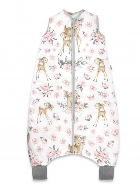 Baby Nellys, Spací vak s nohavičkami Srnka a růže, 90 cm - růžová, šedá