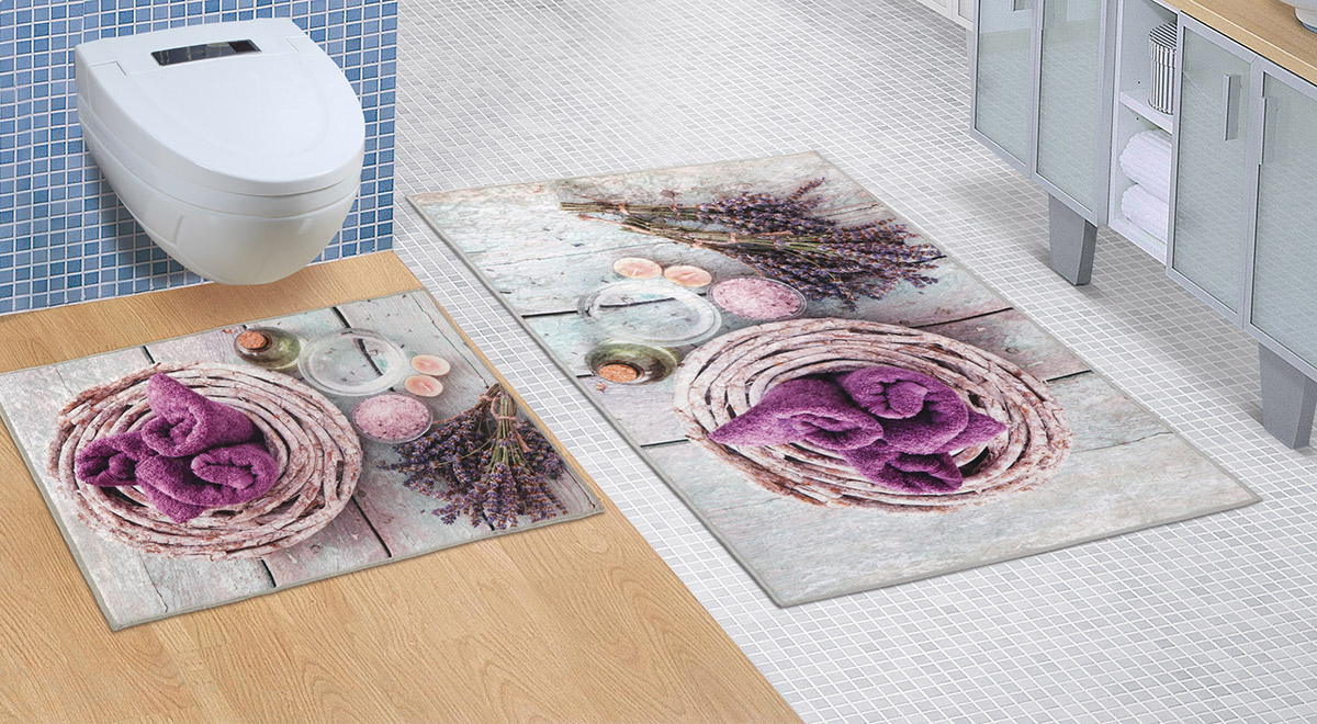Koupelnová sada předložek 3D 60x100+60x50cm BEZ VÝKROJE levandule