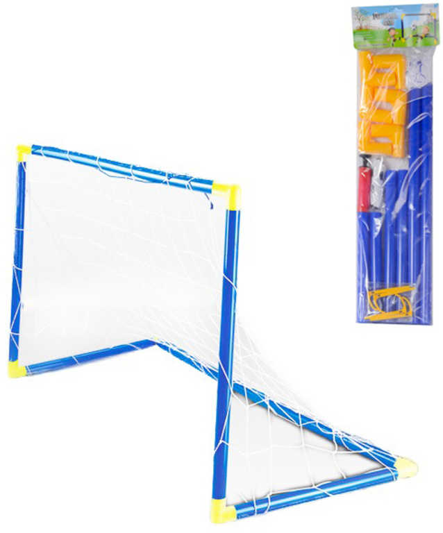 Branka dětská fotbalová modrá 92x56x63cm skládací na kopanou plast