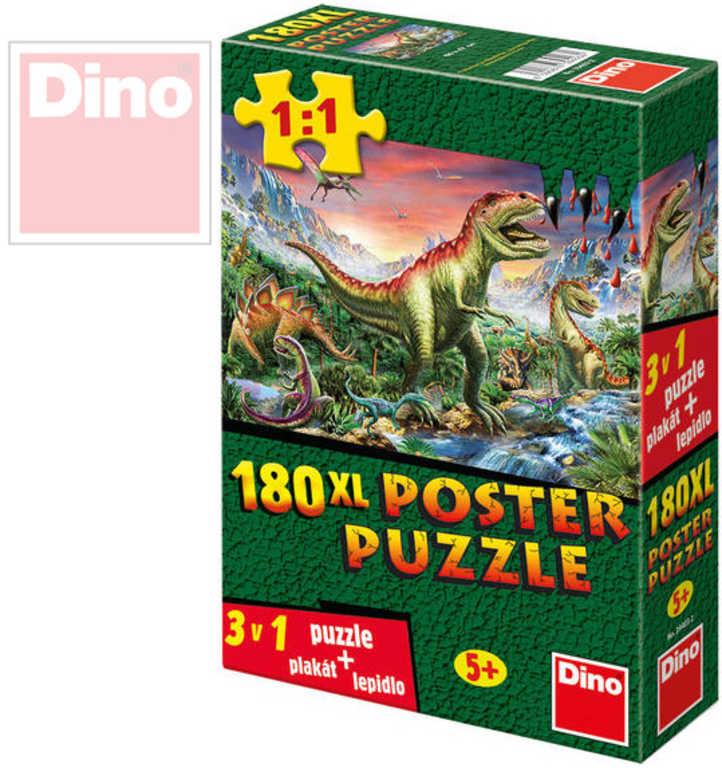 DINO Puzzle XL 180 dílků Dinosauři plakát set s lepidlem 47x66cm