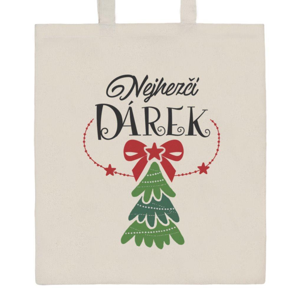 Bavlněná nákupní taška s potiskem New Baby Nejhezčí DÁREK - přírodní