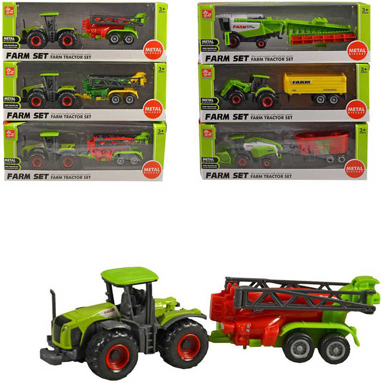 Traktor stroj zemědělský set s přívěsem 18 cm v krabičce plast