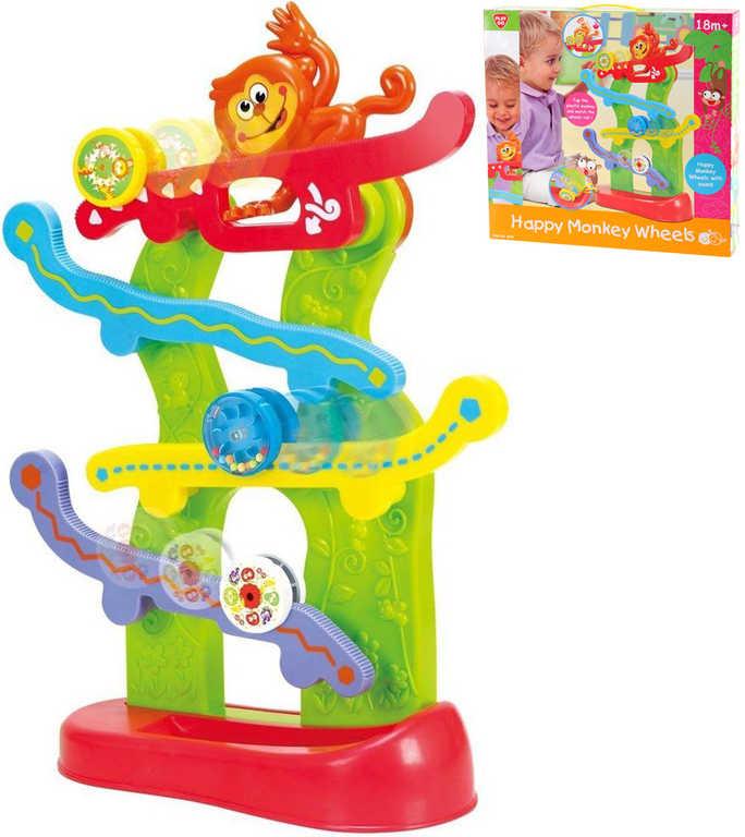 Baby Štastná opice dráha opičí s kolečky pro miminko plast