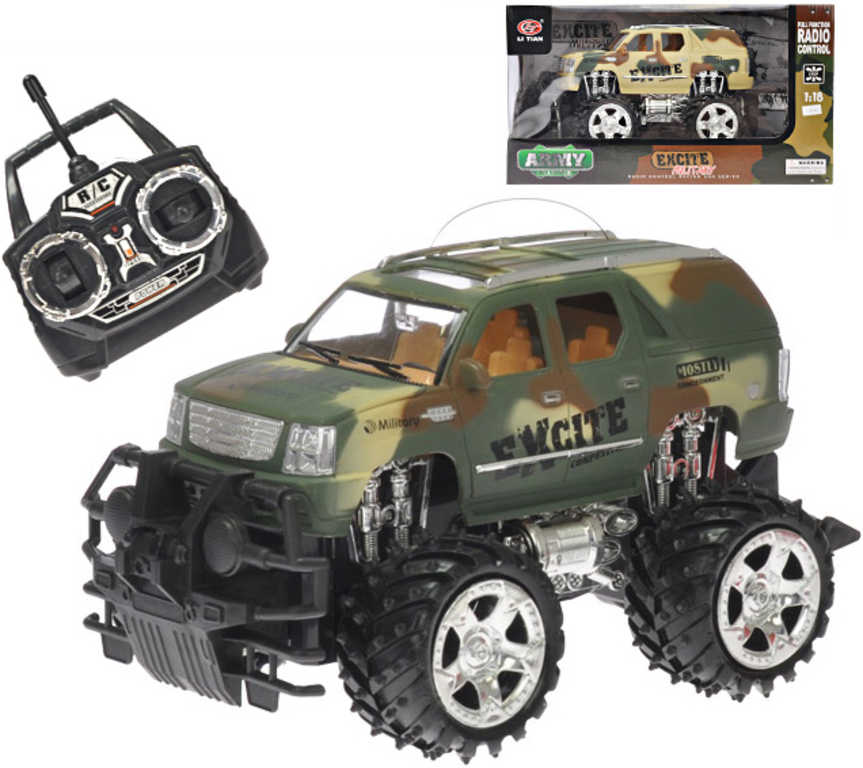 RC Auto vojenský džíp terénní 25cm 1:18 plná funkce 27MHz na baterie 2 barvy