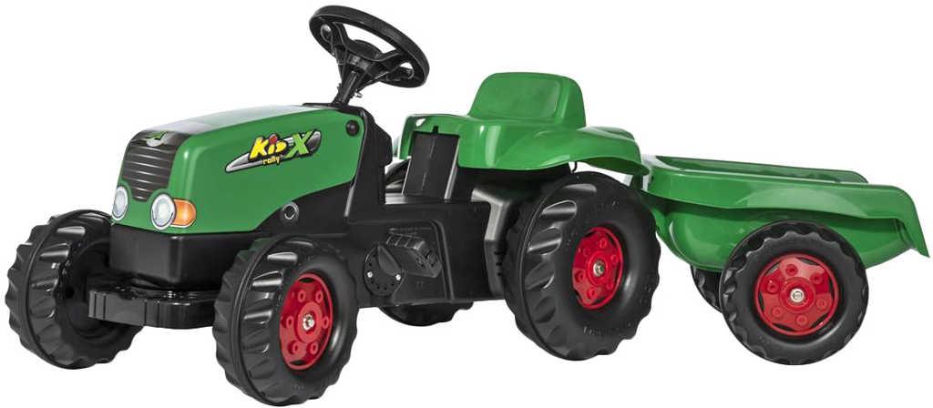 ROLLY TOYS Traktor dětský šlapací Rolly Kids zelený set s vlečkou 130x42x39cm