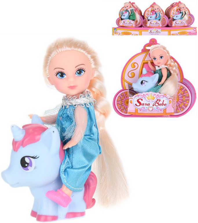 Panenka blondýnka 12cm set s jednorožcem dlouhé vlasy různé barvy plast