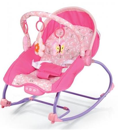 BABY MIX Lehátko pro kojence s vibrací a hudbou - Motýlci - růžové