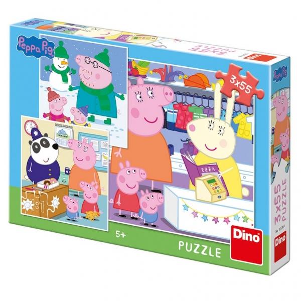 Puzzle 3x55 Prasátko Peppa