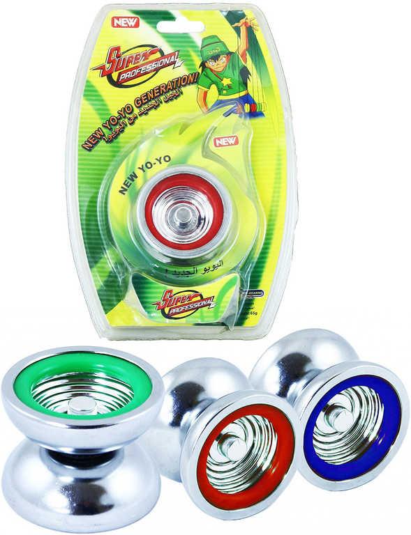 Jo-Jo malé 5cm kovové yo-yo do kapsy na kartě 3 barvy