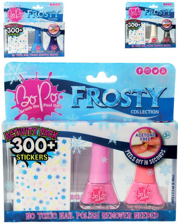 EP Line BO-PO Frosty set lak na nehty slupovací 2ks + 300 samolepek