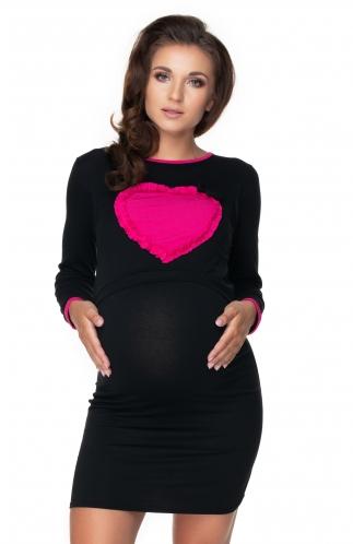 Be MaaMaa Těhotenská, kojící noční košile srdce, dl. rukáv