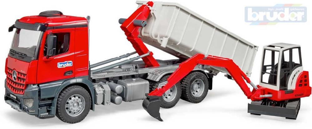 BRUDER 03624 (3624) Set auto Mercedes Benz Arocs kontejner + minibagr Schaeff