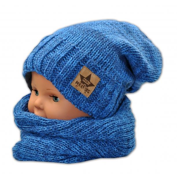 Časdětí teplá akryl/fleece čepice od 5let s komínkem - modrá s výšivkou