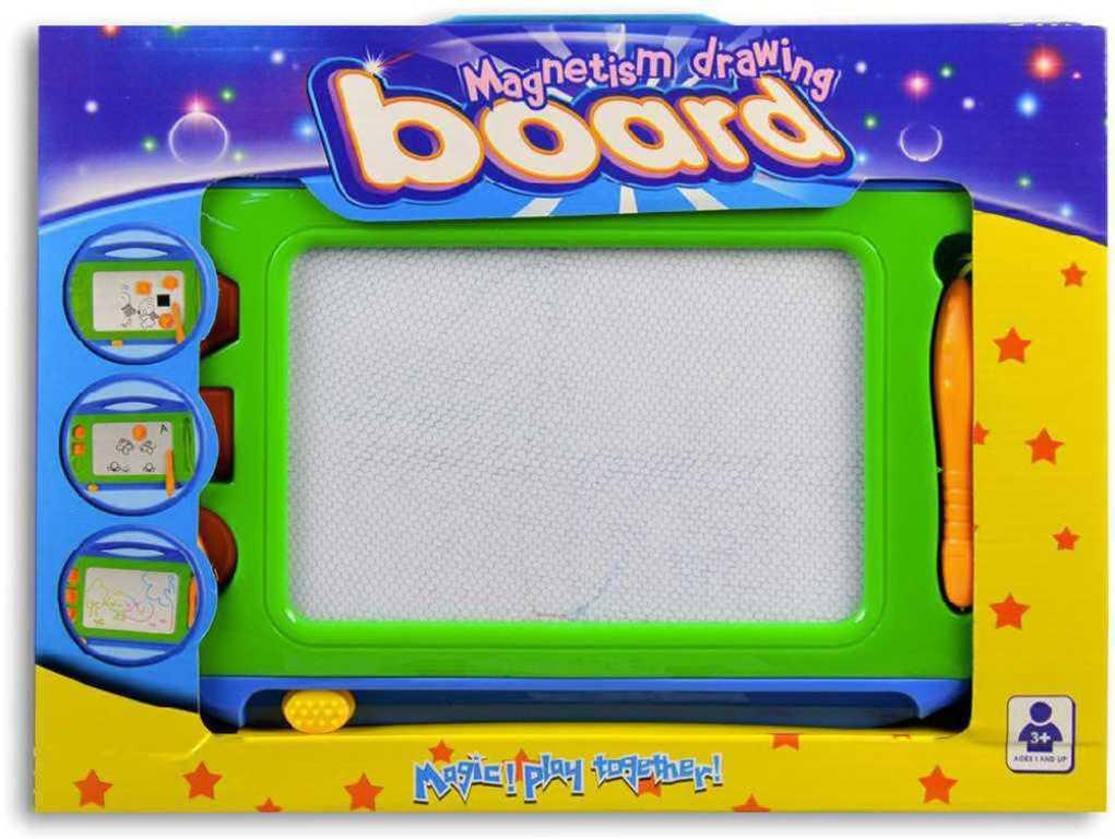 Tabulka dětská magnetická kreslicí set se 3 razítky a kouzelným perem plast zelená