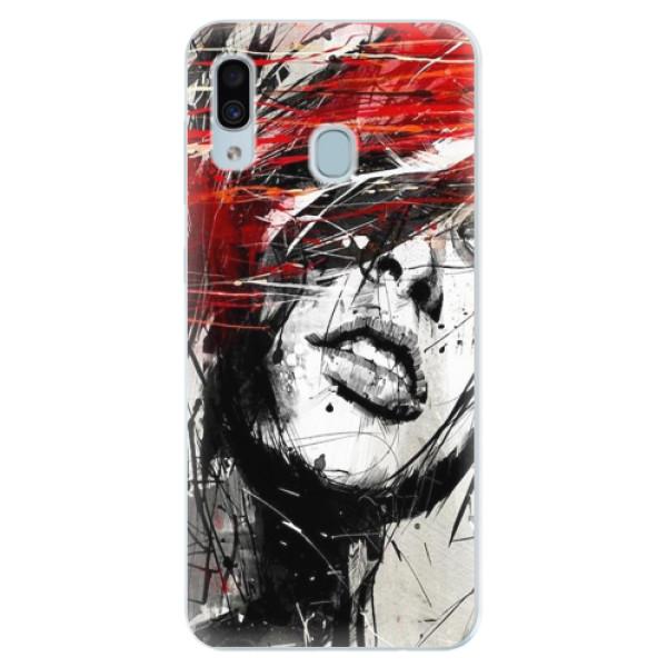 Silikonové pouzdro iSaprio - Sketch Face - Samsung Galaxy A30