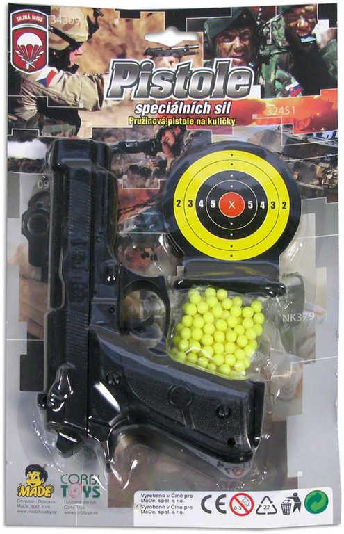 Pistolka 17,5cm s terčem a kuličkami