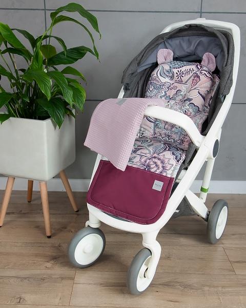 Baby Nellys 2-dílná sada do kočárku Vafel + bavlna PREMIUM, Květy - retro