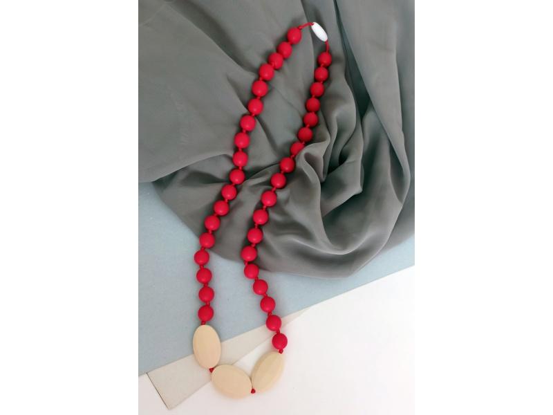 MIMIKOI - Kojící korále červený s oblázky