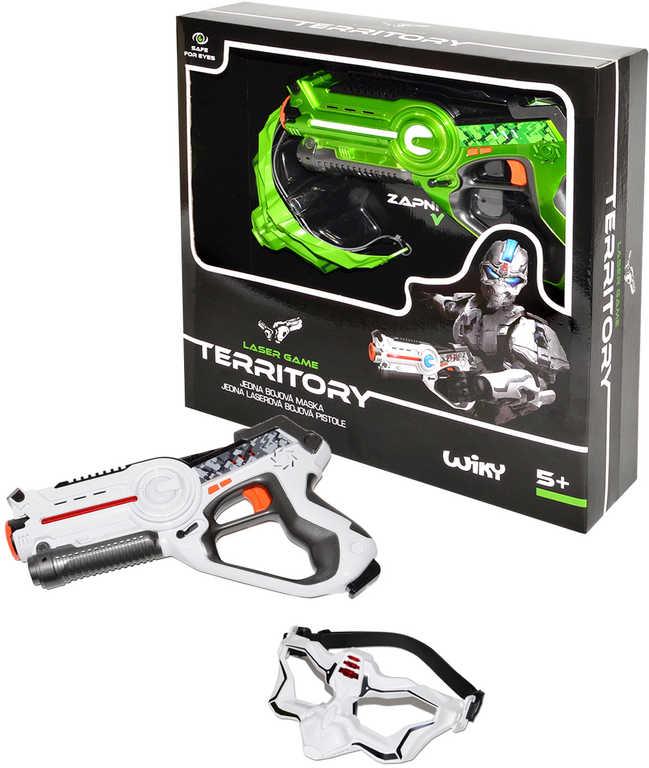 HRA Laserová Territory game single set bojová maska + pistole 2 barvy v krabici