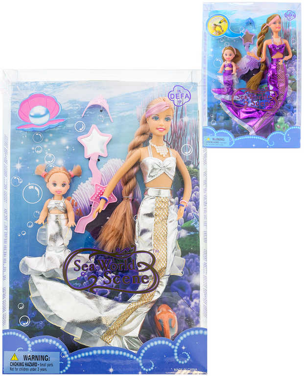 Panenka Defa Lucy mořská panna kouzelná set maminka s dcerkou mění barvu