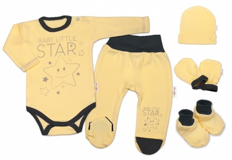 baby-nellys-5-ti-dilna-soupravicka-do-porodnice-baby-little-star-zluta-vel-68-68-4-6m