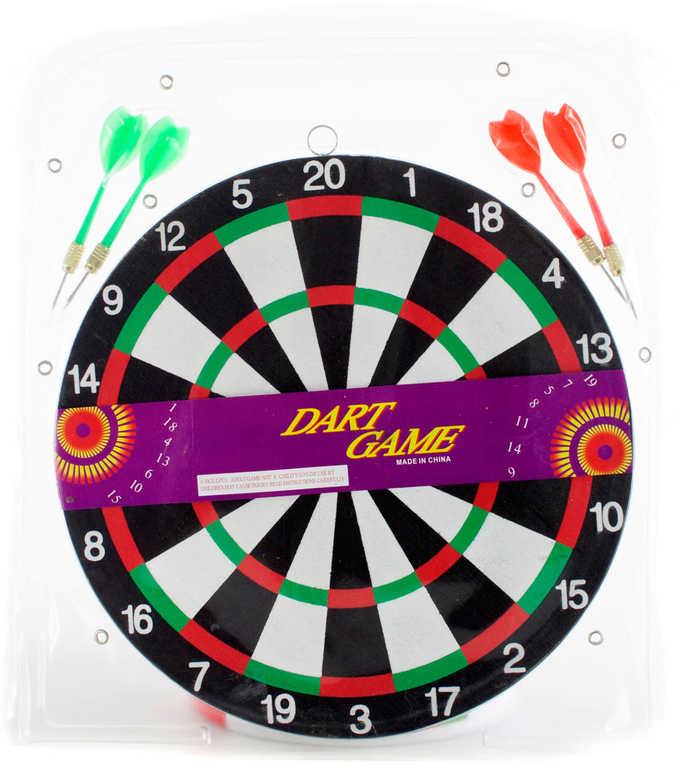 Hra šipky set terč oboustranný 29cm se 4 šipkami *SPOLEČENSKÉ HRY*
