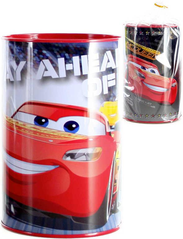 Pokladnička dětská kovová Auta (Cars) 15 cm kulatá v sáčku - 2 druhy