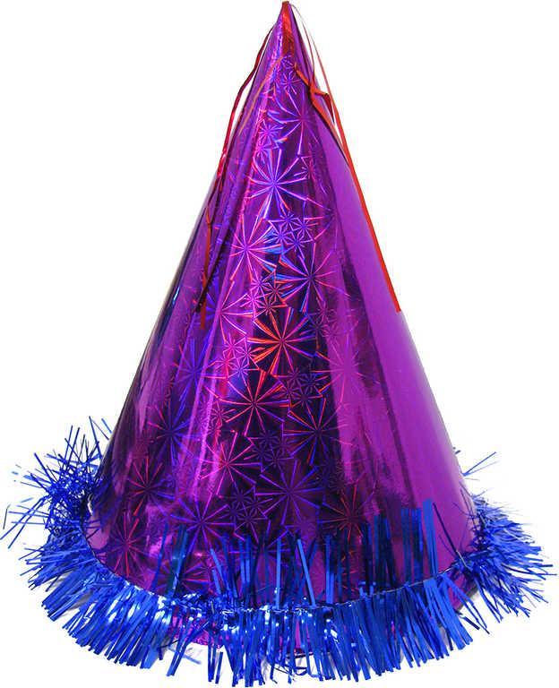 Klobouček na párty špičatá čepice s třásněmi 3 barvy