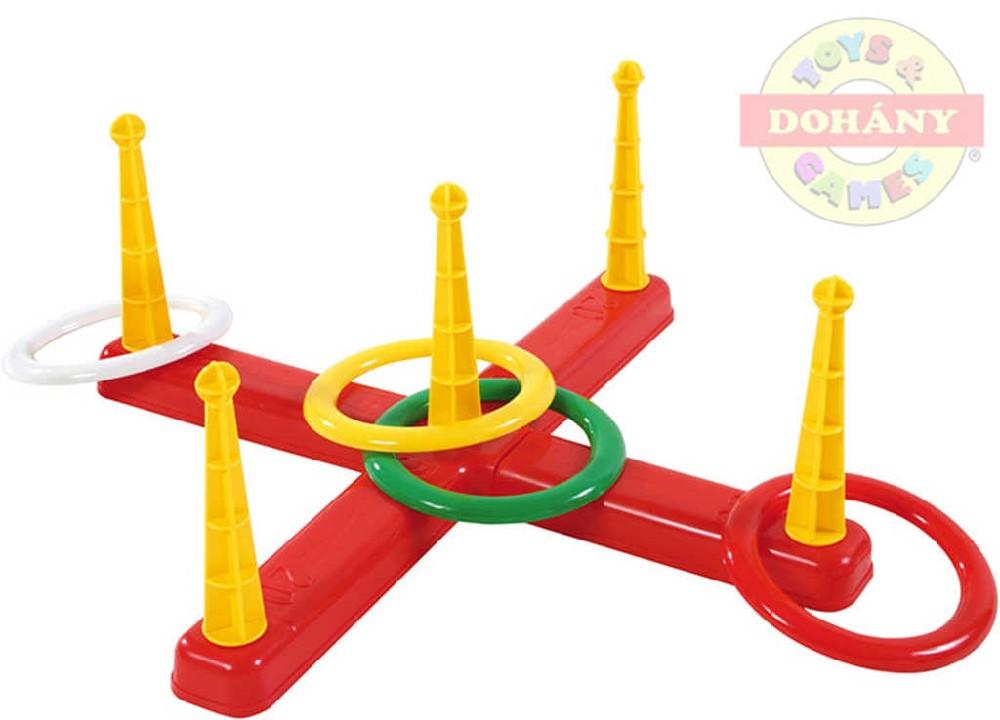Hra kříž házecí 5 kolíků plastový set s kruhy 5ks v síťce