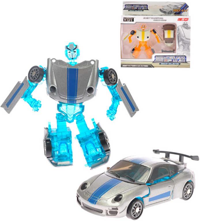 Auto sportovní robot 8cm transrobot 2v1 kovový 2 barvy