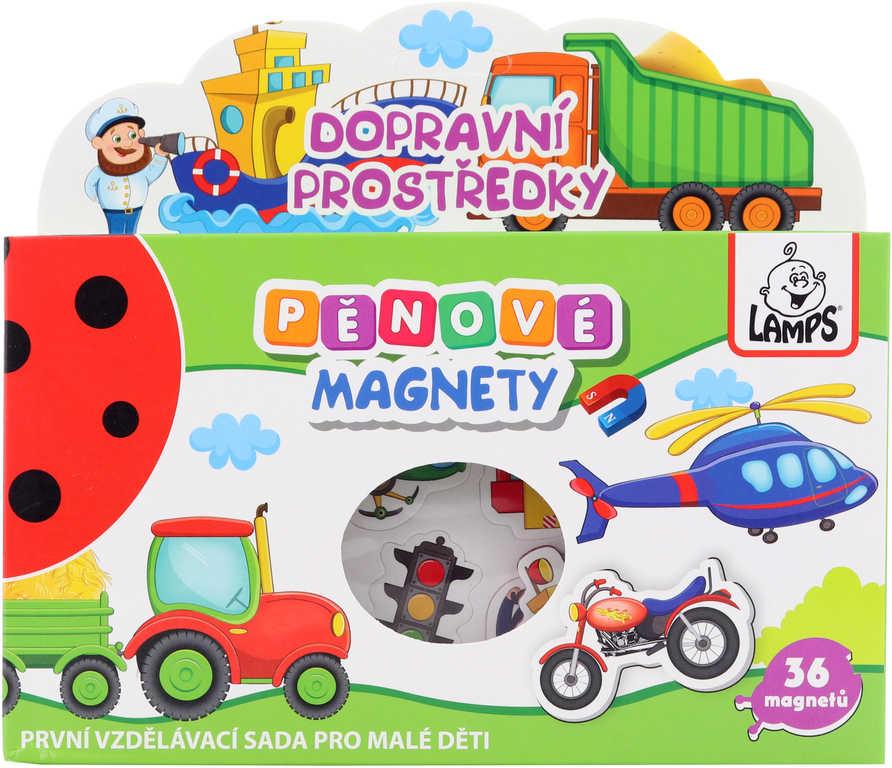 Magnetky soft pěnové tvarované s obrázky doprava set 36ks v krabici