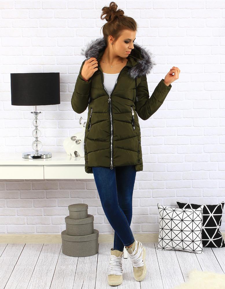 Dámská prošívaná bunda s kapucí (ty0136) - Pine House - Olivovo zelená/M