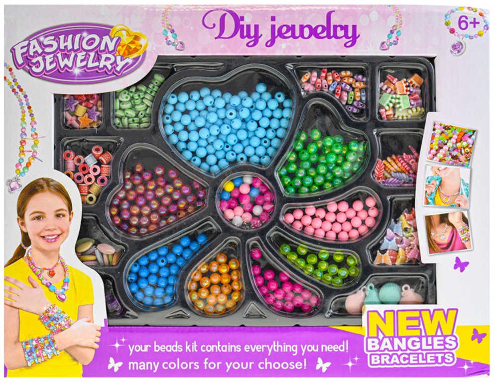 Korálky barevné navlékací výroba dětské bižuterie v krabičce plast