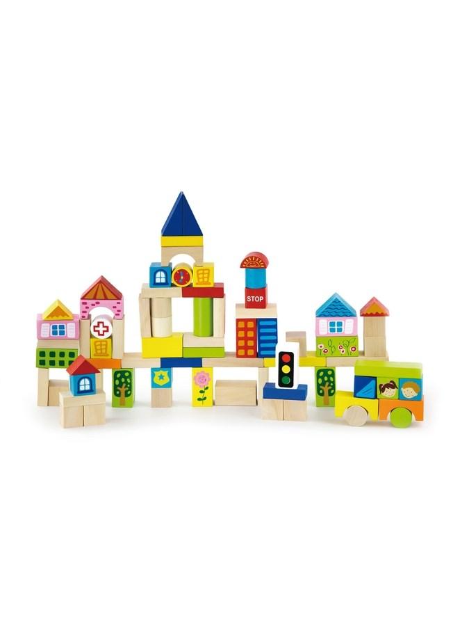 Dřevěné kostky pro děti Viga City 75 dílů - multicolor