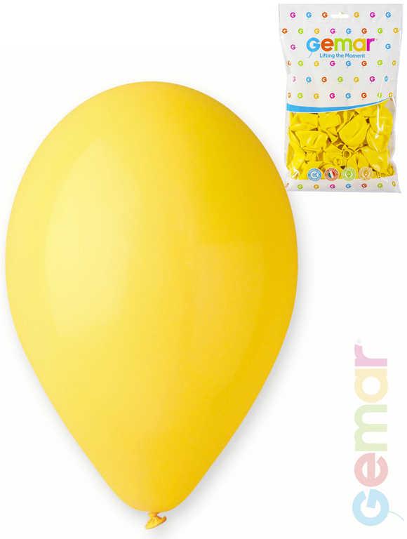 GEMAR Balónek nafukovací 26cm Pastelový ŽLUTÝ 1ks