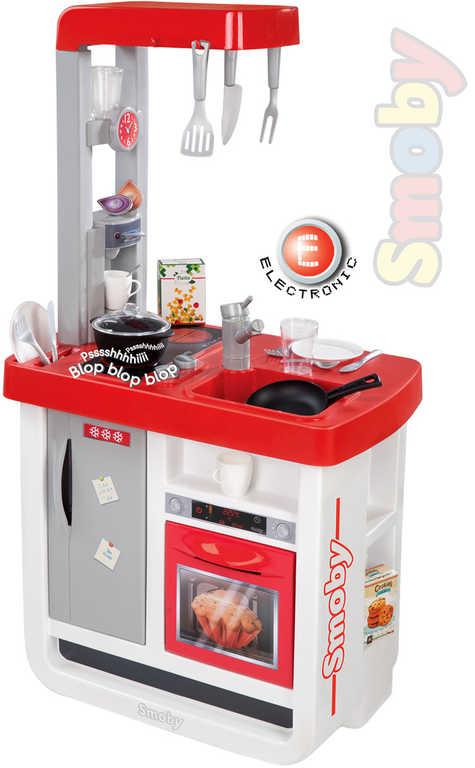 SMOBY Kuchyňka dětská Bon Appetit bílo-červená set s nádobím a doplňky Zvuk