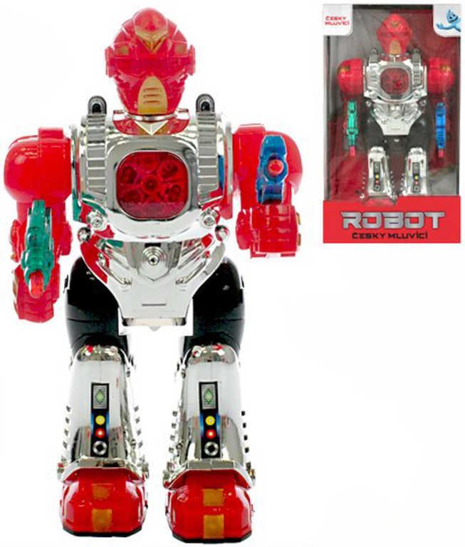 Robot česky mluvící 23cm chodí na baterie CZ v krabičce Světlo Zvuk